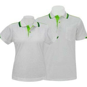 เสื้อโปโล สีขาวขลิบเขียว