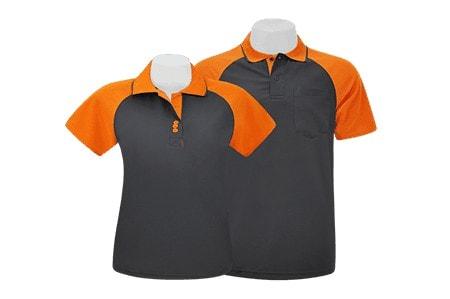 เสื้อโปโล ตัดต่อ (สโลป) สีเทาดำ-ส้ม