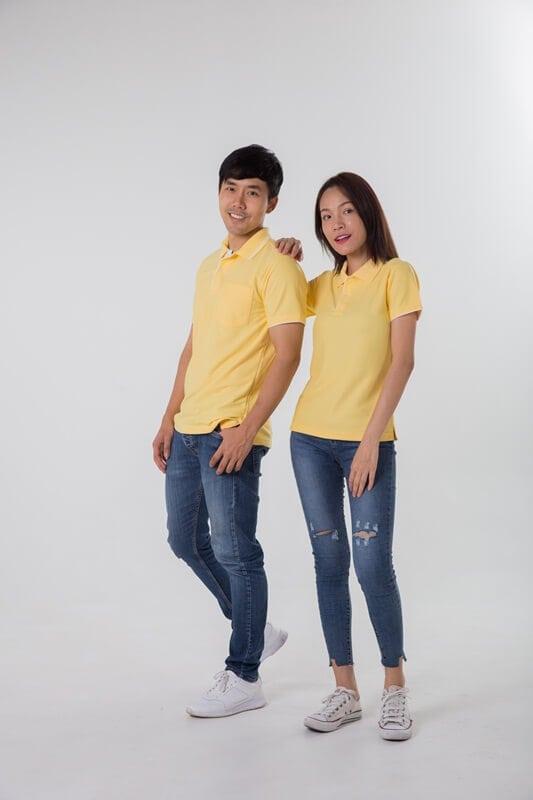 เสื้อโปโล ชาย หญิง สีเหลือง ขลิบแขนขาว
