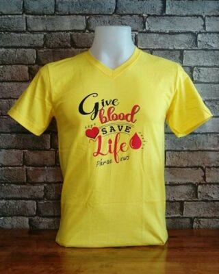 เสื้อยืดสีเหลืองสกรีนลาย give blood save life