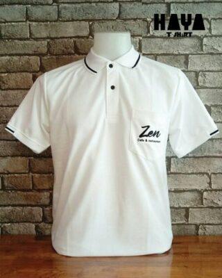 เสื้อโปโลสีขาว ปักโลโก้ Zen cafe&restaurant