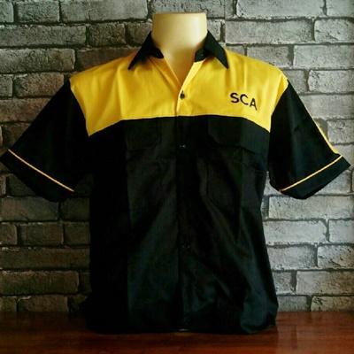 เสื้อช็อปตัดต่อ ดำ-เหลือง ปัก SCA