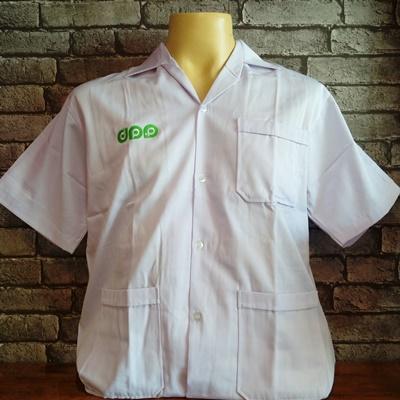 เสื้อช็อปสีขาว ปักโลโก้หน้า