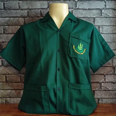 เสื้อช็อปสีเขียว ปักโลโก้แม่โจ้